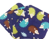 Hedgehogs Flannel - Set of 4 wipes - flannel and OBV - SOFT - 8x8 size