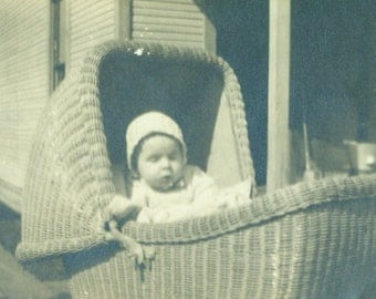 Baby in Wicker Carriage Outside 1920s Picture Vintage Black White Photo Photograph