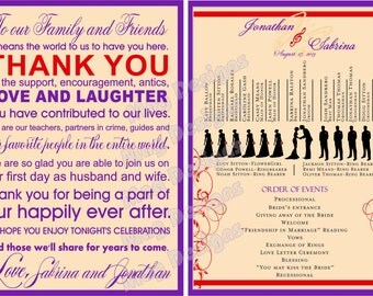 Thank You cards for Wedding Reception or Programs