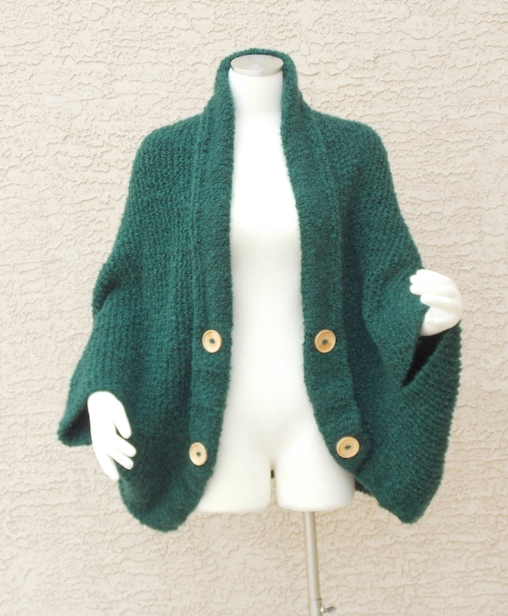 Hand Knit Handmade Chunky Cocoon Cape Sweater Jacket Emerald