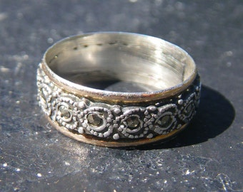 Sterling silver and marcasite -Portuguese love ring - heart design