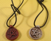 Set of Pentacle Polymer Clay Pendant Necklaces TERRA COTTA & UMBER With Walnut Brown Antiquing on Waxed Cord