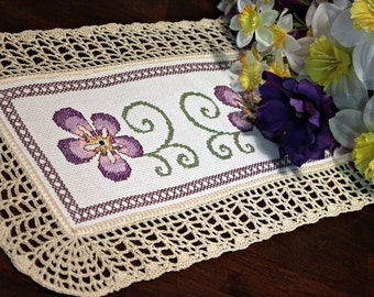 Purple flower doily