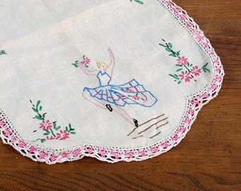 Vintage Dresser Scarf, Hand Embroidered, Dancer and Flowers