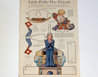 Antique Magazine Page, Paper Doll Sheet, 1918
