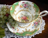PRINCESS DANIELLE Tea Time Note Card Vintage Collectible Royal Albert Albany Green China Teacup & Saucer 22K Gold Trim White Roses Tea Party