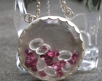 Shaker Necklace - Gem Shaker Necklace - Garnet Silver Pendant - Rhodolite Garnet - White Topaz Necklace - Silver Shaker Necklace - Pink Gems