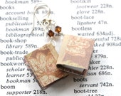 Miniature Book Earrings - Brown and Pink Floral Design - Great Gift for Teachers, Librarians, Writers, Book Lovers, and Book Clubs