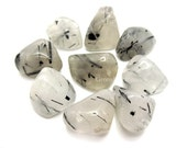 Tourmalinated Quartz  Tumbled Stone, Crystal Healing, Wire Wrapping, Artisan, Crafts, Metaphysical, Reiki, Rock Hound