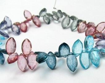 Mystic Quartz Briolettes, multi color marquises, mystic quartz briolettes, 8 inch strand, 10mm (8k19)