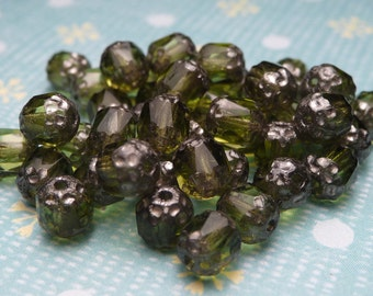 Forest Glass Cathedral Beads 5mm - 20pc