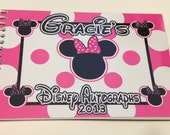 Disney Autograph Book Red, Pink, Teal, Blue Polka Dot Personalized Mickey Mouse and Minnie Mouse Custom Autograph Books