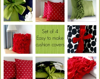 Set of 4 Easy to Make Pillow Sewing Guides