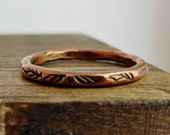 Copper Stacking Ring, Leaf Stamped Copper Band