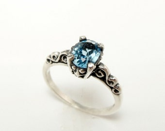 Swiss Blue Topaz Engagement Ring - Sterling Silver Gemstone Ring - Filigree Engagement Ring