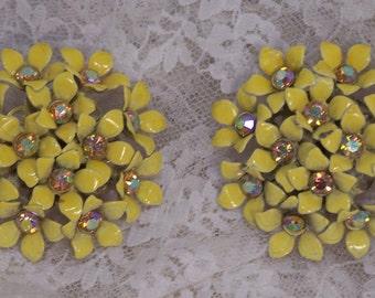 Vintage Clip Earrings, AURORA BOREALIS, Yellow Flower Clusters, Signed Kramer, AB rhinestones, Antique Enamel, Rhinestone, Estate Jewelry