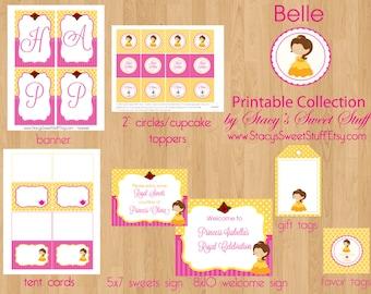 Belle Birthday Party Package, DIY, PRINTABLE, CHOOSE 4