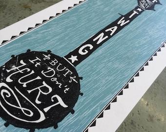 Twang Woodcut + Letterpress Print
