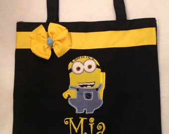 Personalized Tote Bag, Personalized Tote, Minion Tote Bag, Minion Tote, Minion Gift, Personalized Minion, Yellow Monsters, Evil Minion