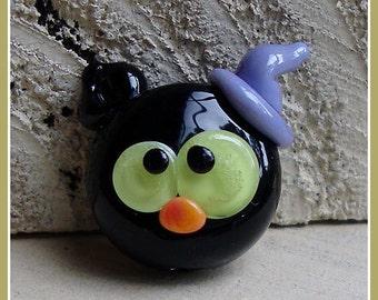 Black Cat Witch Kitty Halloween Lampwork Bead