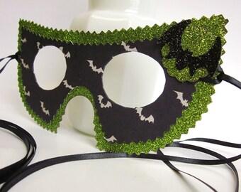 Black White and Green Halloween Bat Masquerade Ball Mask