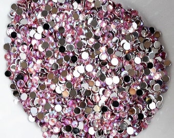 1000 Round Faceted Flat Back Rhinestone SS12 3mm Light Rose Pink AB FREE Shipping US Iphone Case LR245