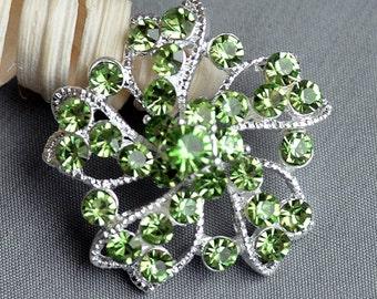 5 Large Rhinestone Button Embellishment Light Mint Green Crystal Wedding Brooch Bouquet Invitation Hair Comb Clip BT177