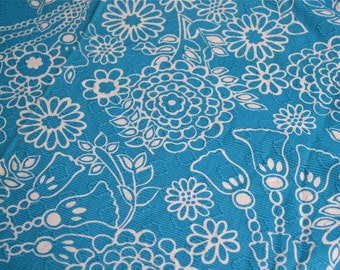 Vintage Fabric - Tropical Turquoise and White Floral - 45 x 32 Embroidered