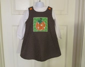 Ready To Ship,Little Girls, 2T Brown With White Polka Dots A-Line Jumer, Applique Pumpkin Patch, Orange Buttons
