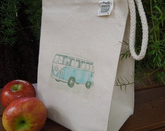Recycled cotton lunch bag - Canvas lunch bag - Gender neutral lunch bag - VW camper - VW bus - Now available in FIVE colors!!!