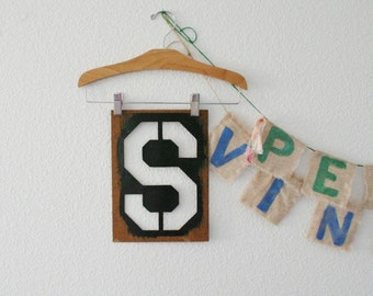 Large Letter S wall hanging vintage oil board stencil home decor industrial rustic