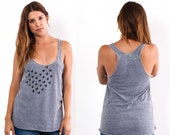 Little Black Birds...Gray and Black Tri-Blend Racerback Tank Top hand printed by Blonde Peacock