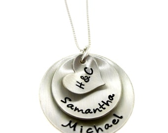 Initials on Heart with Sterling Silver Discs - Hand Stamped Jewelry byHannahDesign