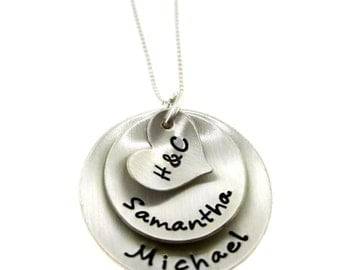 Custom listing for add'l large disc -Initials on Heart with Sterling Silver Discs