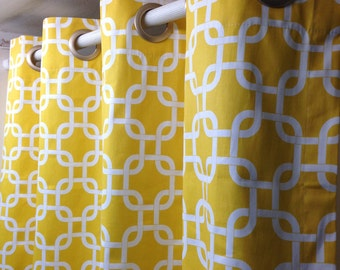 Pair of grommet top curtains, drapes, panels, Gotcha, chain link yellow and white