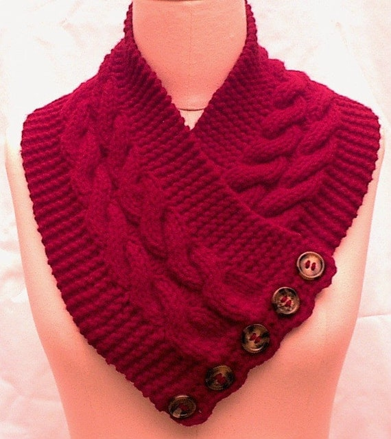 Neck Chest Warmer Scarf Red Hand Knit Cables by ...