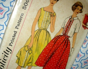 UNCUT Vintage 50's Simplicity Sewing Pattern 2552 -  Slenderette  Simple-to-Make Sleeveless Dress and Jacket - Size 16