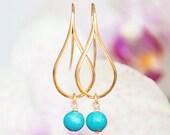 MATT Gold earrings with Turquoise, Teardrop earrings, Dangly earrings, Modern jewelry, Turquoise earrings, Greek jewelry, Minimal earrings