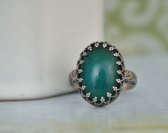 sterling silver ring MOODSTONE RING vintage 70s color changing mood stone glass cab ring