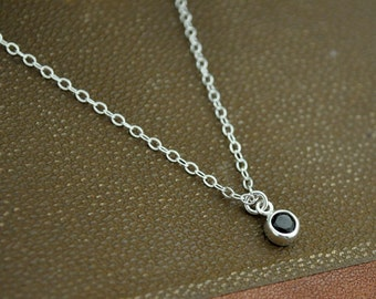 sterling silver necklace, black onyx charm, TINY BLACK DOT,  dainty wear, everyday necklace in silver, bridesmaid gift,  black gemstone