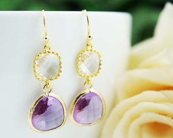 Wedding Jewelry Bridesmaid Gift Bridesmaid Earrings Dangle Earrings Gold Framed clear white and Dark Lilac (Purple) glass drop Earrings