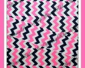 NEW 1, 3 or 5 yards 7/8 Nautical CHEVRON Pink Navy Stripes on Grosgrain Ribbon sailor hair bows headbands sewing decor baby