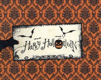 Halloween Tags, Happy Halloween, Jack o Lantern, Bats, Party Favors, Halloween