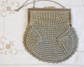 Vintage Silver Crocheted Italian Evening Purse