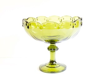 Vintage Green Pedestal Glass Bowl by Indiana glass