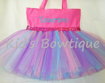 Purple Aqua and Hot Pink Tutu Bag with Sequins - Dance Tutu Tote Bag