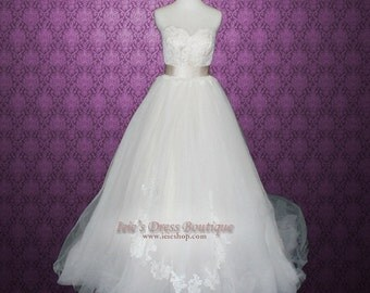 Champagne V Neck Princess Tulle Ball Gown Wedding Dress