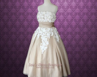 Retro 50s Tea Length Mocha Lace Wedding Dress
