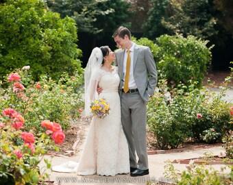 Size 4 Vintage Style Modest Lace Scallop  A-line Wedding Dress FY130406
