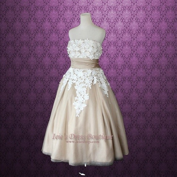 Retro 50s tea length mocha lace wedding dress for Etsy tea length wedding dress